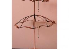 Stojak obrotowy do kolczyków w kształcie dwupoziomowej parasolki, duży - miedziany