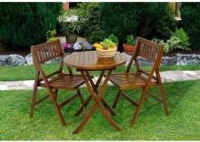 Stół + 2 krzesła z drewna akacjowego
