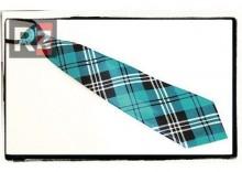 Satynowy damski krawat. NIEBIESKI W KRATKĘ