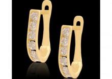 złote kolczyki z białymi cyrkoniami