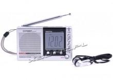 Kieszonkowe radio na plażę lub na grzyby - wbudowany głośniczek i słuchawki, fale AM/FM/SW, wyświetlacz z godziną