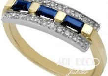 Złoty Pierścionek z brylantem 0.21ct i szafirem 0.49ct GÓRECKI P6108