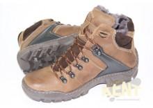 KENT 119 BRĄZ - Wysokie buty zimowe, skóra, naturalne futro