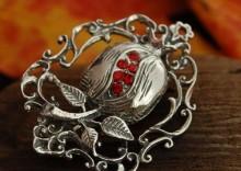 CZERWONY MAK - broszka z rubinami