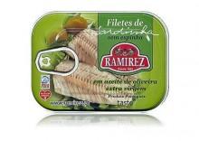 Filety z sardynek portugalskich w oliwie extra virgin - z kawałkami oliwek, 100g