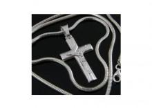55cm Łańcuszek MĘSKI Gruby WĄŻ + Krzyż SREBRO