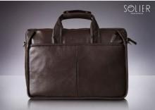 Nowoczesna brązowa męska torba na ramię, torba na laptop Solier S13