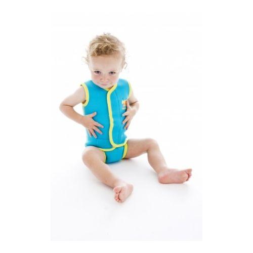 Neoprenowy mini-kombinezon pływacki Baby Wrap - turkusowy z żółtą obwódką