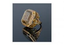 Złoty pierścień z kwarcem dymnym - GoldenFashion - biżuteria z historią