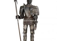 Średniowieczna zbroja postarzana + halabarda