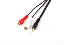 Kabel 3,5 mm JACK stereo wtyk - 2 x CINCH wtyki 1,5m GOLD TREQ