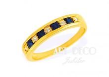 Złoty Pierścionek zaręczynowy z brylantem 0.06ct i szafirem 0.40ct ŁAZUR wzór SZ16