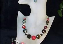 Komplet biżuterii srebrnej pr.925 z agatu różnokolorowego - AGAT 081