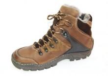 KENT 120 BRĄZ- Wysokie buty zimowe, skóra, naturalne futro