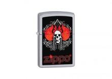 Zapalniczka Zippo Skull Flames Chain, Satin Chrome(B) Z205019