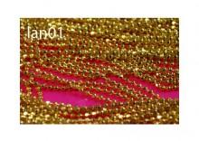 Łańcuszek z bulionowych szlifowanych kuleczek - metalowy - złoty