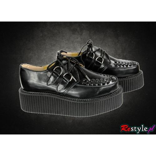 T.U.K. A6802 buty czarne klasyczne Creepersy na koturnie