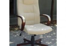 Skórzany fotel biurowy Vespanni w kolorze beżowym