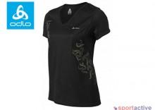 ODLO Koszulka krótki rękaw v-neck - QUITO - black-aspen gold - damska