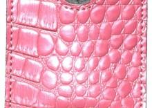 Elegancka skórzana kondomierka - Devine French Envelope różowy krokodyl