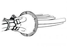 Osłona cięgna gumowa ściągana taśmą z kołnierzem PCV