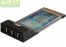 Karta kontrolna PCMCIA 3 porty FireWire PCM-FW2 + Hub USB 4 porty BL-USB2HUB2B + Kabel USB A męski/A żeński 2 metry - MC922AMF-2