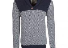 Solid Sweter niebieski