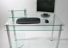 Biurko komputerowe z wieloma półkami, szklane + aluminium