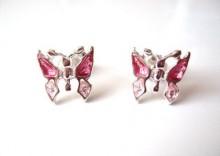 Kolczyki rózowe Motylki