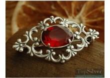 RAVENA - srebrna broszka z rubinem