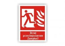 Znak 12 Drzwi przeciwpożarowe lewe 150x200 FB