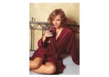 TAMER D4-P XL szlafrok damski czerwony ze złotymi lamówkami bawełna