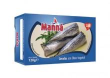 Mini makrele portugalskie ?cavalinhas? w oleju 120g Manná