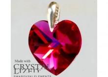Zawieszka serce Swarovski - Heart Fuchsia