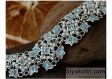 MALTA - srebrna bransoletka akwamaryn i perły