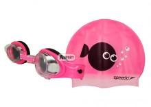 Okulary pływackie dziecięce + czepek SEA SQUAD różowe Speedo