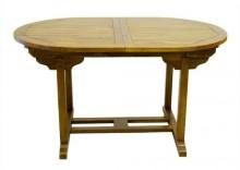 Stół rozkładany, owalny z drewna akacjowego 140/180x90x75
