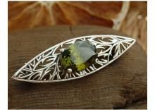 OLENA- srebrna broszka z oliwinem