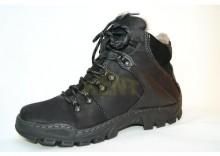 KENT 119 CZARNY - Wysokie buty zimowe, skóra, naturalne futro