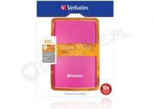 Verbatim Store n Go USB 3.0 Portable Hard Drive 500GB różowy