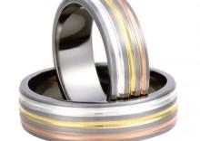 Tytanowo złote obrączki ślubne Titanium 3D by Swepol wzór model TG85-7