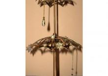 Stojak obrotowy do kolczyków w kształcie dwupoziomowej parasolki - miedziany