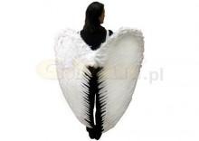 Skrzydła anioła dla dorosłych, białe z piór, bardzo duże, 120 x 130 cm, 1 szt